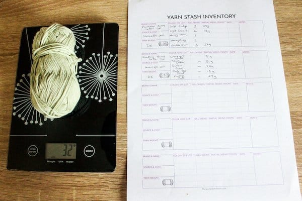 yarn on weighing scales & inventory sheet