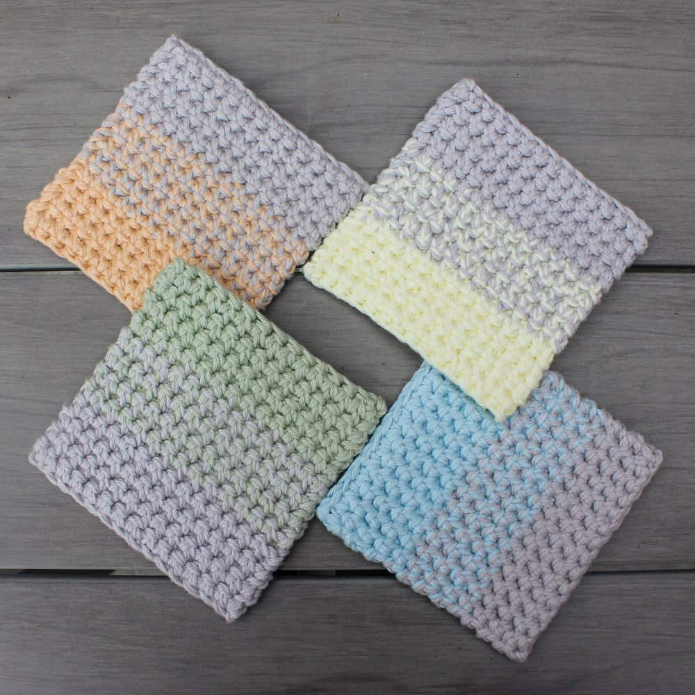 Ombre Crochet Coasters (flatlay)