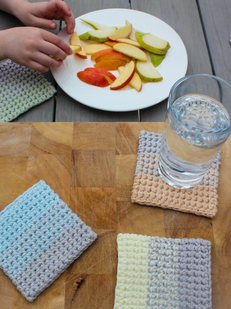 Ombre Crochet Coasters (with fruit plate & glass of water)