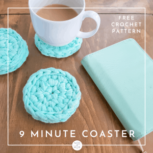 Crochet coasters (mint green, cup)