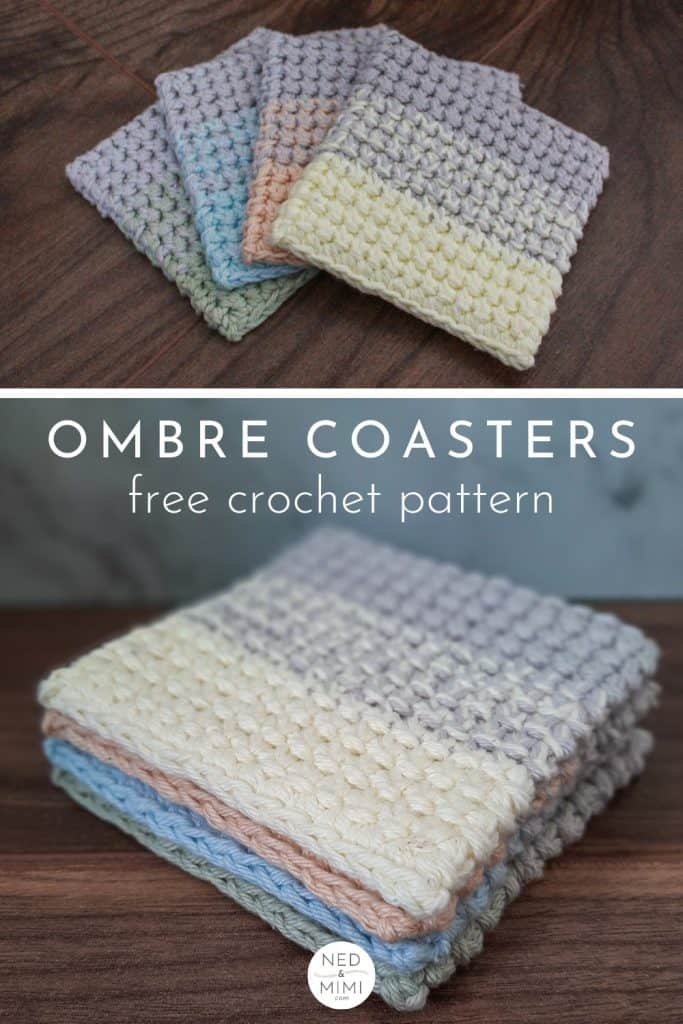 Ombre Crochet Coasters (collage)