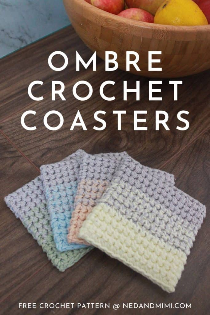 Ombre Crochet Coasters (with fruit bowl)