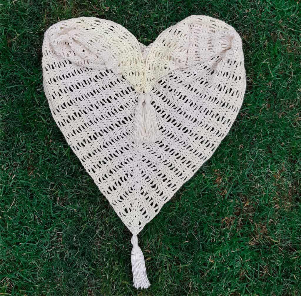 Crochet Shawl (folded on grass)