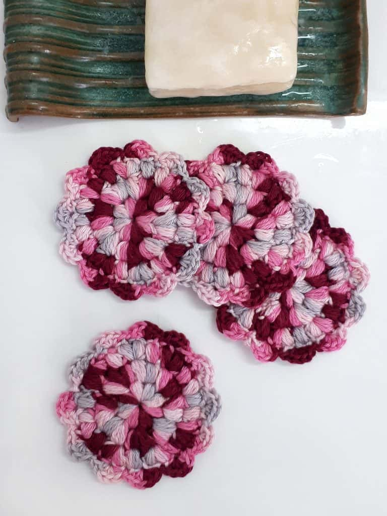 Crochet flower face scrubbies by Made by Gootie