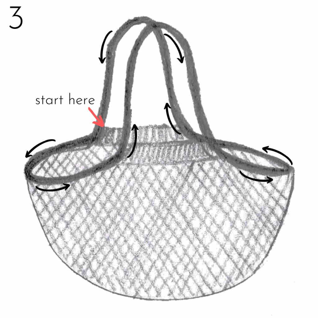 Market Bag sketch - step 3