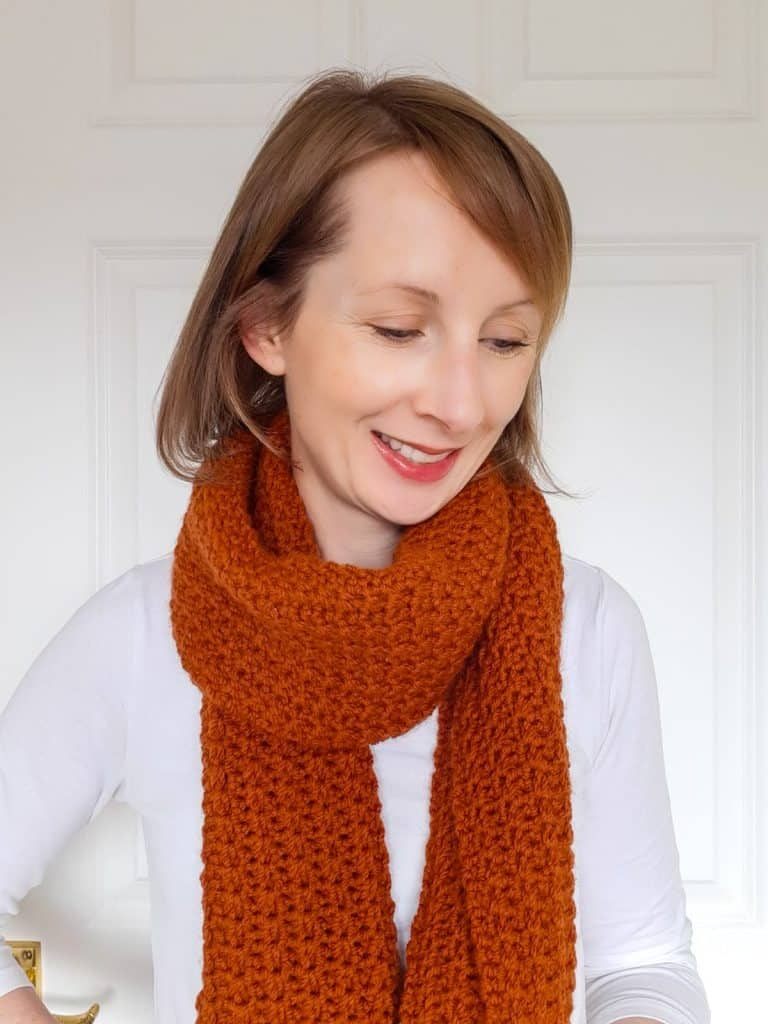 Ridge Walk Crochet Scarf on girl