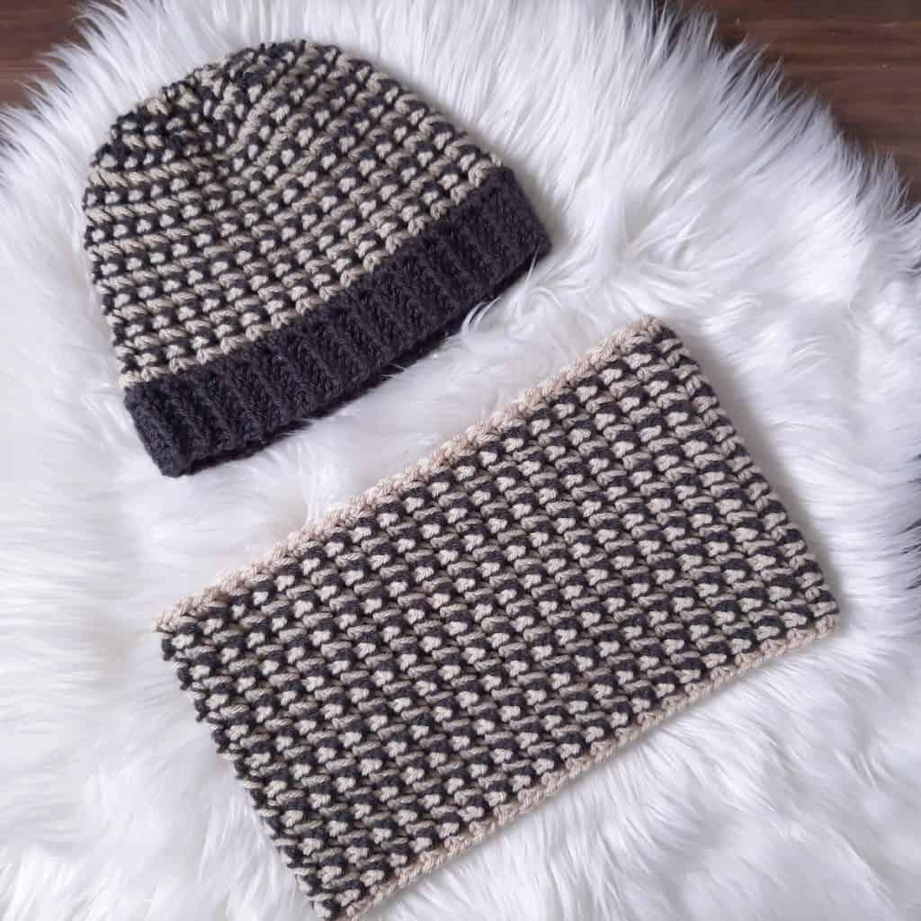 Trinity Stitch Crochet Hat & Cowl