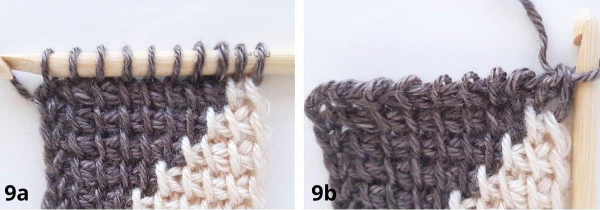 Tunisian Crochet Color Change - Row 9 a+b