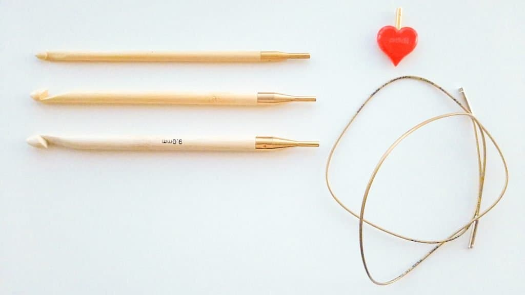Tunisian crochet hooks, cable and stopper