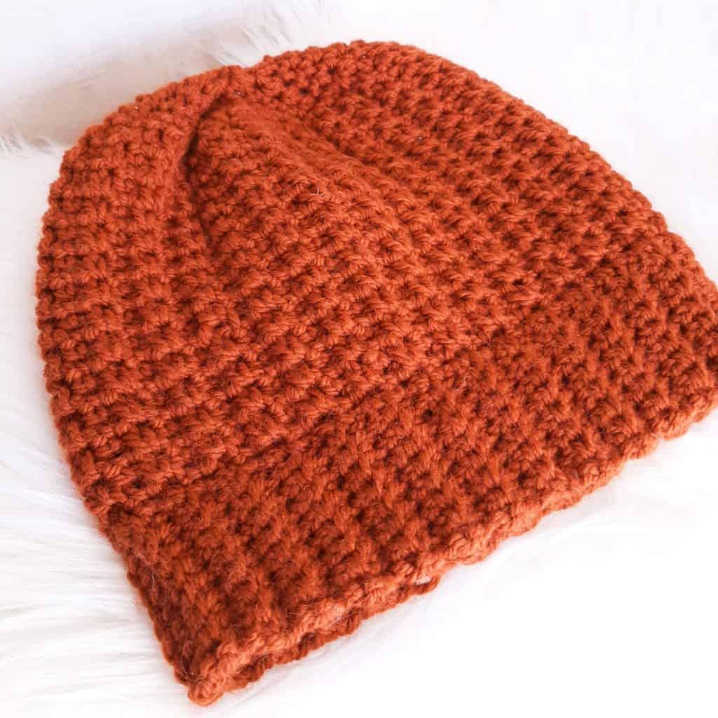 Ribbed Crochet Hat (Brown-Orange)