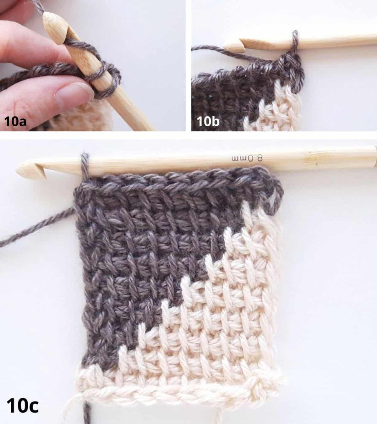 Tunisian Crochet Color Change - Row 10