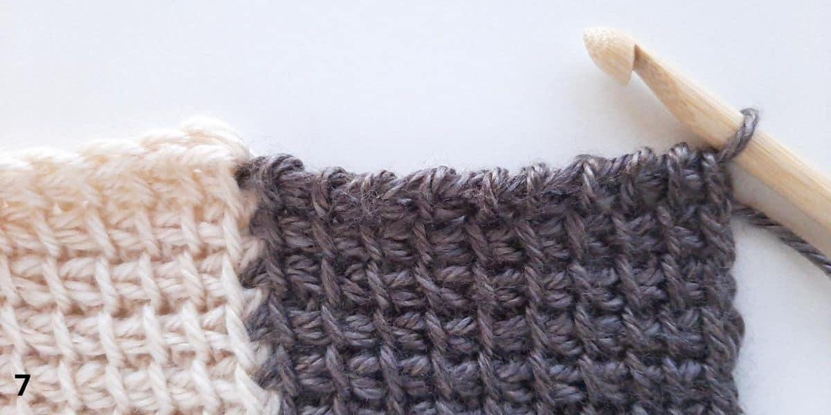 Tunisian Crochet: Join as you go Step 7