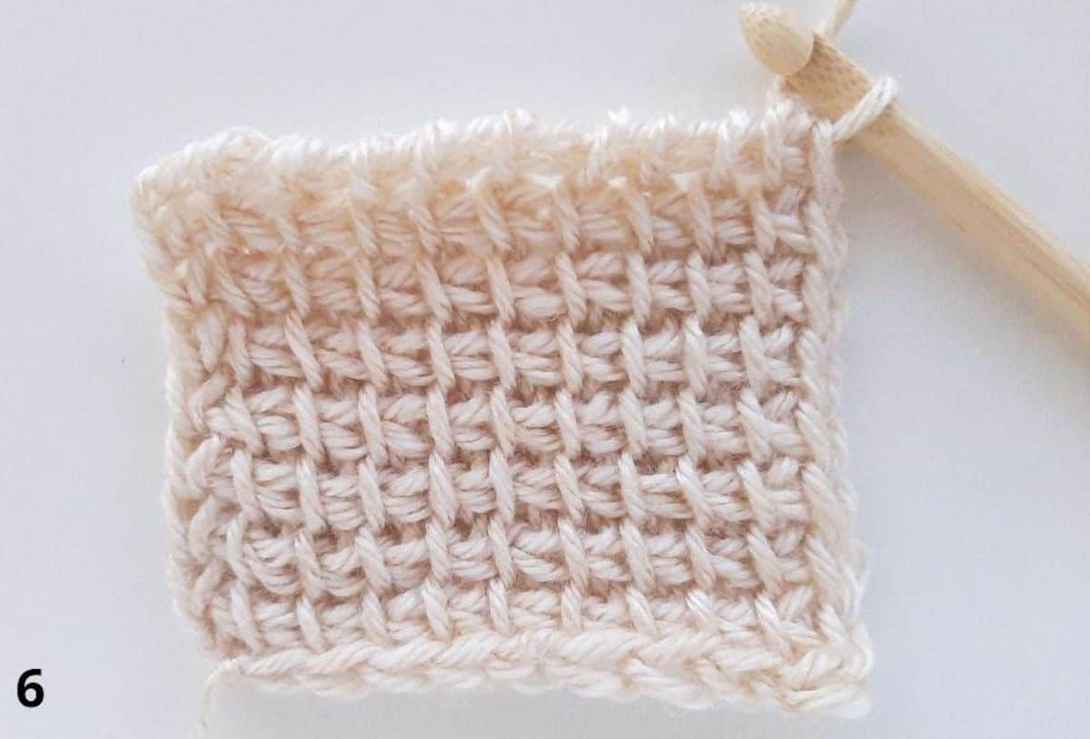 Tunisian Simple Stitch Step 6