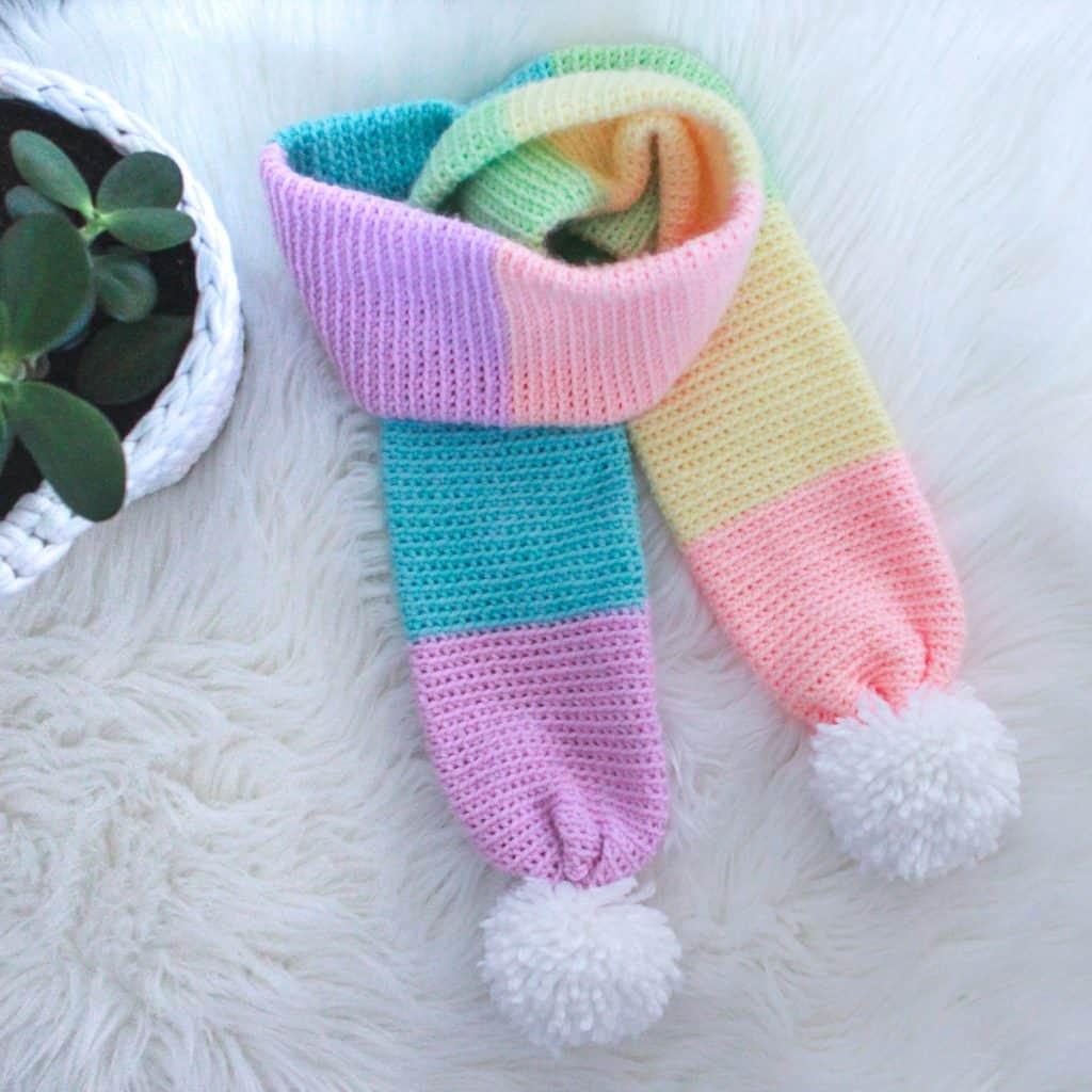Rainbow Crochet Scarf Pattern