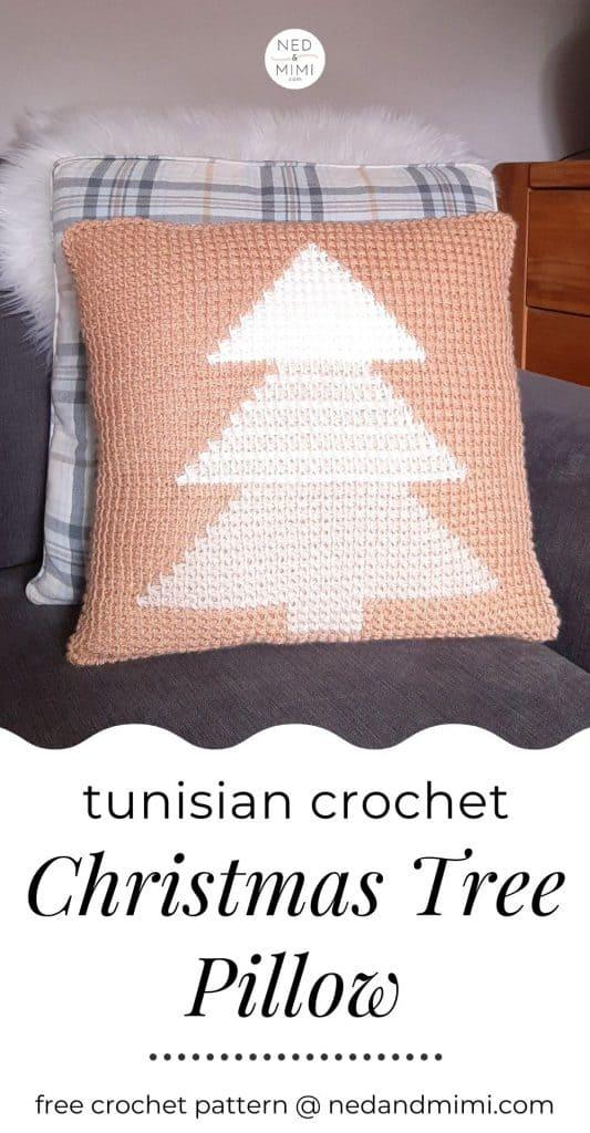 Tunisian Crochet Christmas Tree Pillow