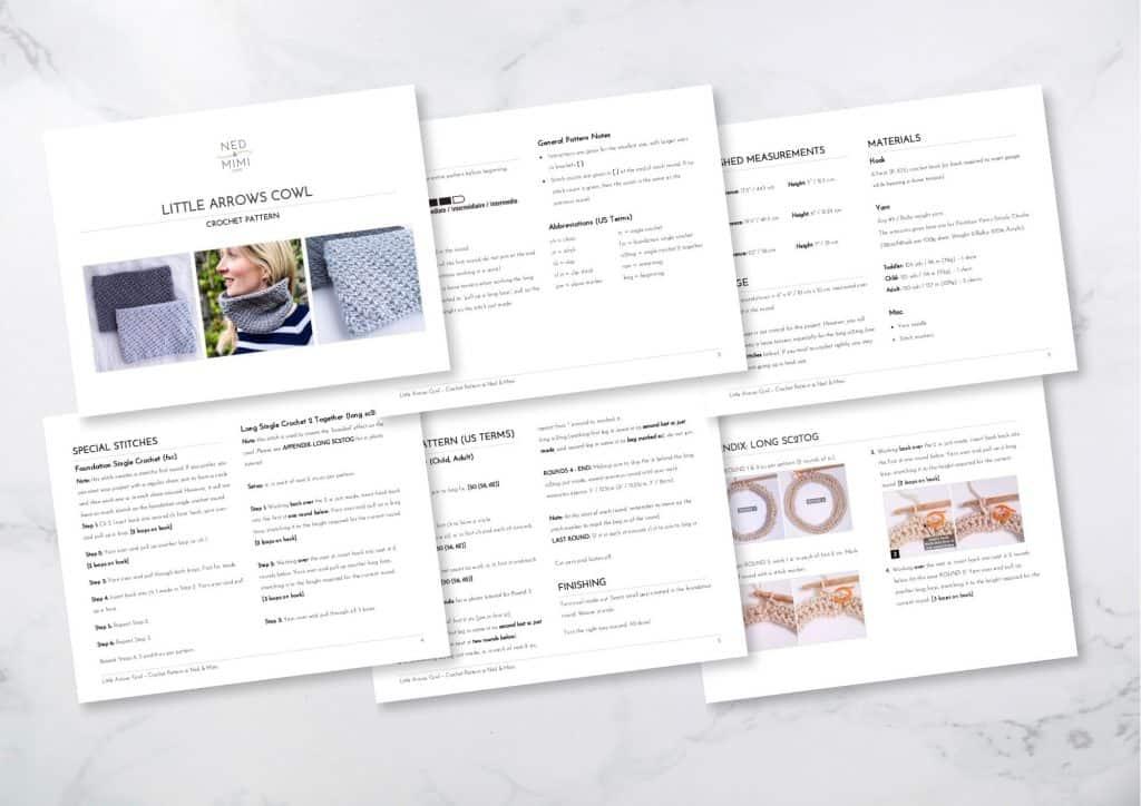Little Arrows Crochet Cowl Free Pattern PDF Preview