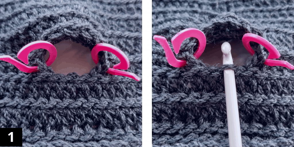 Crochet Fingerless Gloves - Thumb - step 1