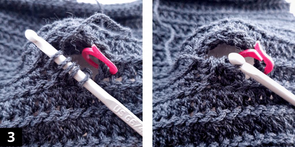 Crochet Fingerless Gloves - Thumb - step 3