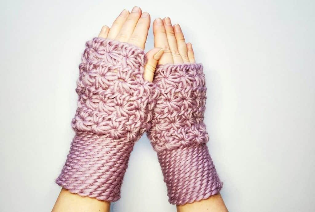 Star Stitch Fingerless Gloves by Raine @ Handmade by Raine
